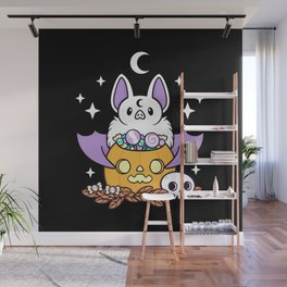 Pumpkin Bat // Black Wall Mural