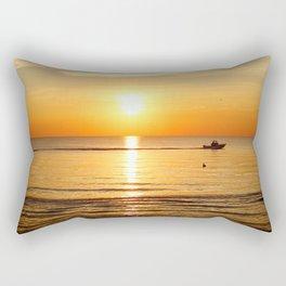 Yellow Sunset Ocean Rectangular Pillow