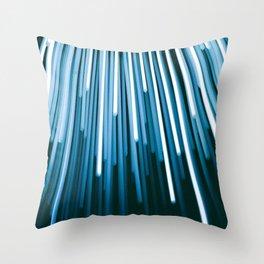 Hyperspace Fiber Optics Blue white Streaks Of Light Throw Pillow