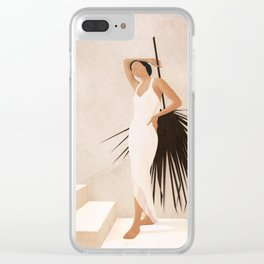 Minimal Woman with a Palm Leaf Clear iPhone Case