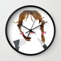 britney Wall Clocks featuring Britney by Bethany Mallick