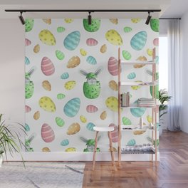 cute bright pattern for Easter with a hare and eggs Wall Mural