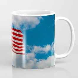 American Flag in Big Blue sky Coffee Mug