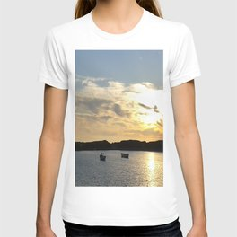 Sunset over Lancashire sea fishing boats  T-shirt