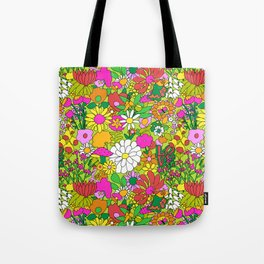 60's Groovy Garden in Lime Green Tote Bag