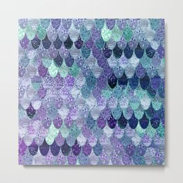 SUMMER MERMAID  Purple & Mint by Monika Strigel Metal Print