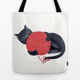 Black cat Red yarn Tote Bag
