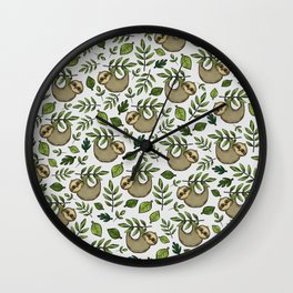 Little Sloth Hanging Around, Cute Sloth Print, Gray and Green, Hand-Drawn Sloth Wall Clock