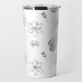 Flowers, Leaves and Seeds Hand Drawn Nature Pattern Travel Mug