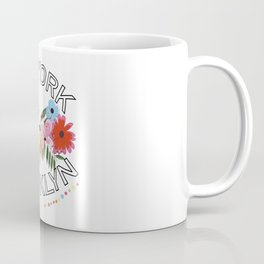 ''New York, Brooklyn'' text with exotic summer flowers Coffee Mug