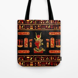Hathor Egyptian Ornament Gold and Red glass Tote Bag