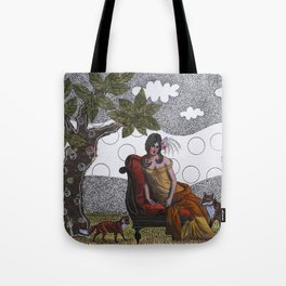 Lady with foxes Tote Bag