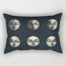moon phases and textured darkness Rectangular Pillow