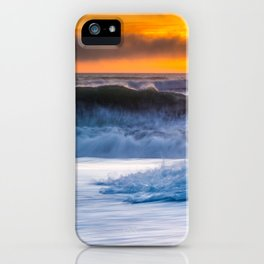 Waves Pound the Beach at Sunset iPhone Case