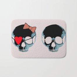 Blue punk skull with heart Bath Mat