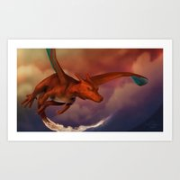 charizard Art Prints featuring Charizard by Chris Masna