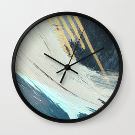 Karma: a bold abstract in blues and gold Wall Clock
