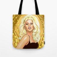 rupaul Tote Bags featuring RuPaul:Golden Goddess by Megan Mars