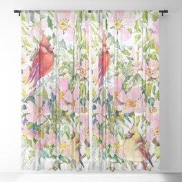 Cardinal Birds and Wild Rose Flowers Sheer Curtain