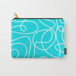 Doodle Line Art   White Lines on Bright Turquoise Carry-All Pouch