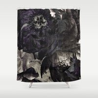 pastel goth Shower Curtains featuring goth peony by inourgardentoo