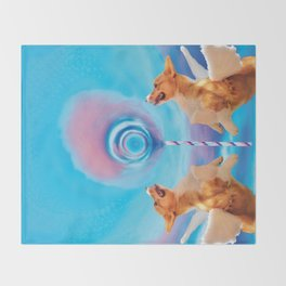 Giant pink cloud lollipop and a flying corgi Throw Blanket