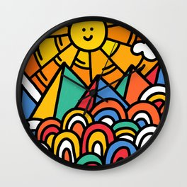 Shiny happy land Wall Clock
