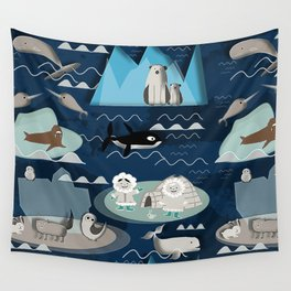 Arctic animals blue Wall Tapestry