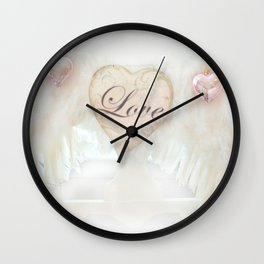 Dreamy Ethereal White Angel Wings Love Heart Print and Love Home Decor Wall Clock