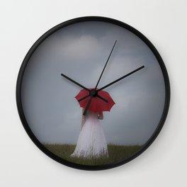 Red Parasol Wall Clock