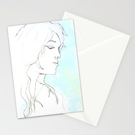 Girl in blue Stationery Cards