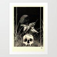 Alas negras, palabras negras ( Black wings, black words) Art Print