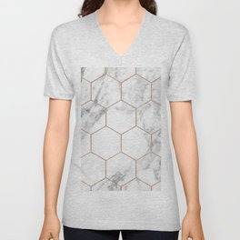 Rose gold marble hexagons honeycomb pattern Unisex V-Neck