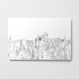 Bath, UK Skyline B&W - Thin Line Metal Print