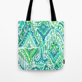 Spring TEMPLE TRIBAL Green Ikat Tote Bag
