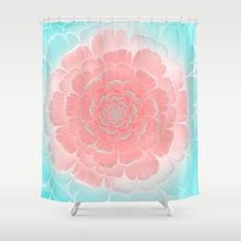 Romantic aqua and pink flower, digital abstracts Shower Curtain