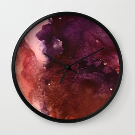 Starlight [2]: a pretty abstract watercolor piece in reds and purples by Alyssa Hamilton Art Wall Clock
