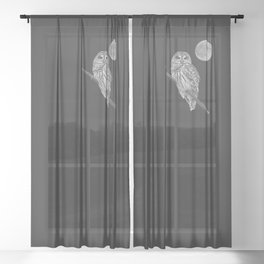 Owl, See the Moon (bw) Sheer Curtain