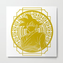 Stained Glass - Dragon Ball - Black Goku Metal Print