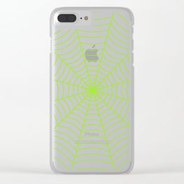 Neon green spider web Clear iPhone Case