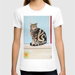 Cat sitting on window sill T-shirt