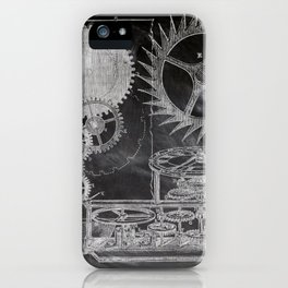 black and white vintage patent print chalkboard steampunk clock gear iPhone Case