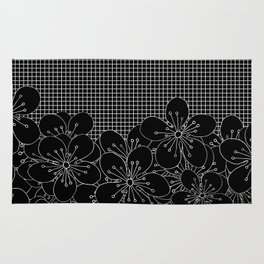 Cherry Blossom Grid Black Rug