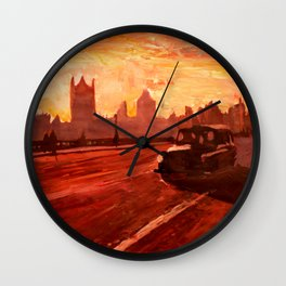 London Taxi Big Ben Sunset with Parliament Wall Clock