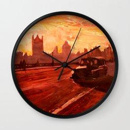 London Taxi Big Ben Sunset with Parliament Wall Clock