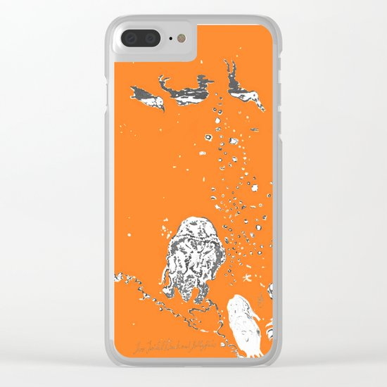 Two Tailed Duck and Jellyfish Orange Clear iPhone Case