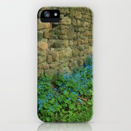 Blue Flowers along a Stone Wall iPhone Case