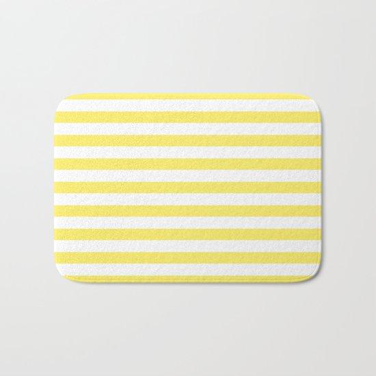 Lemon Yellow Stripes Bath Mat