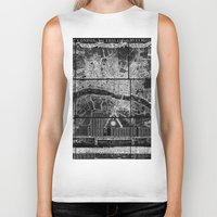 london map Biker Tanks featuring London Map by Le petit Archiviste