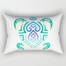 Tribal Turtle on White Rectangular Pillow